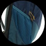abgeschrägte Seitentasche aus Netzmaterial